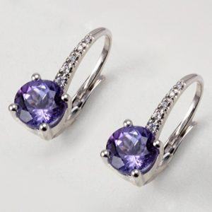 ORECCHINI CON TANZANITE CT. 1.87 E DIAMANTI CT. 0.08