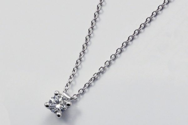 GIROCOLLO PUNTO LUCE POLELLO IN PLATINO CON DIAMANTE CT. 0.30