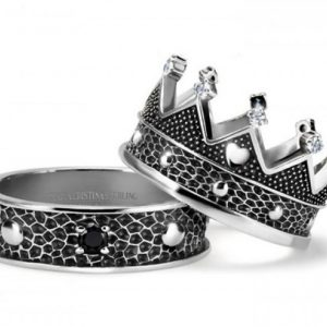 COPPIA ANELLI ARGENTO KING QUEEN